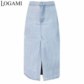 LOGAMI High Waisted Denim Skirt Midi Skirts Womens Knee Length Jeans A-Line Skirt Saia Summer Faldas Mujer 2017