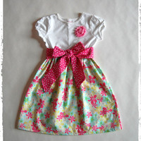 Spring dress! Toddler girls dress Easter dress in pastel colors: Yellow, White, Pink. Easter girls dress. Size 12 mos,18 mos, 2t, 3t, 4t, 5t