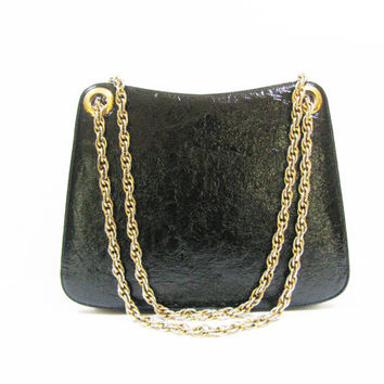 Black Designer Bag  SALE  Bags by Dorian  Vintage Purse  Patent Leather  Chain Strap Handbag Shoulder Bags  Holiday Accessories
