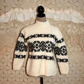Chunky Sweater Warm Winter Sweater Fair Isle Norwegian Nordic Heavy Ski Sweater Pullover Hand Knit for Jones New York Small Womens Clothing