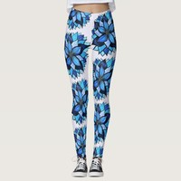 Beautiful Abstract Hand Drawn Blue Flower Pattern Leggings