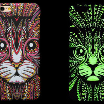 So Cool Night King Cat Animal Handmade Carving Luminous Light Up iPhone Cases for 5S 6 6S Plus Free Shipping