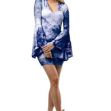 Bell Sleeve Printed Body-con Dress