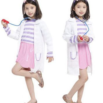 Free shipping ,halloween party cosplay children girl nurse doctor  Doc McStuffins costume pink dress white coat
