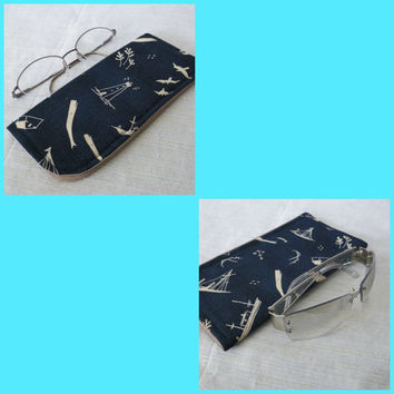 Navy Blue Nautical Theme Soft Slide in Sunglass or Eyeglass Case