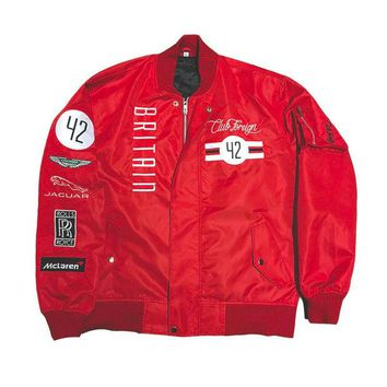 ONETOW Club Foreign Britain MA-1 Bomber Jacket in Red