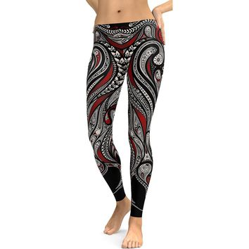Paisley Dragon Women's Black Red & White Slim High Waisted Elastic Printed Fitness Workout Leggings