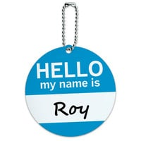 Roy Hello My Name Is Round ID Card Luggage Tag