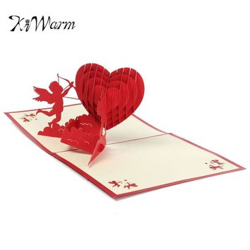 KiWarm Fashion 3D Pop Up Love Greeting Card Birthday Valentines Day Wedding Party Invitation Card New Year Christmas Postcard