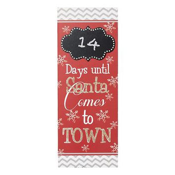 ''Days Until Santa Comes to Town'' Chalkboard Christmas Wall Decor