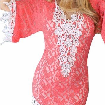 "Women's ""Goddess Crochet"" Beach Dress by Rodeo Fox (Coral)"
