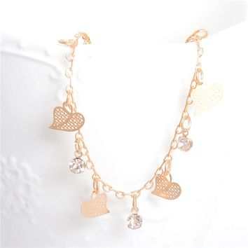 SHUANGR Best Deal Women Beach Anklets Heart Crystal Rhinestone Ankle Chains Foot Jewelry Anklets Foot Chain Jewelry Gift 1PC