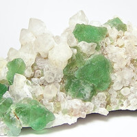Bright Green Fluorite Crystal Cluster with Quartz from South Africa