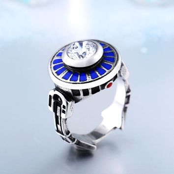 NEW R2-D2 Crystal Embedded Titanium Ring
