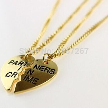 Brand Fashion Jewelry Creative Half Heart  Girl Love Necklace Best Friends Partners In Crime Necklaces(2 pcs 1 set)