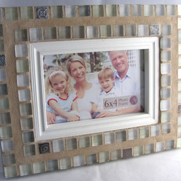 Pastel Glass Frame / 4 x 6 Frame / Mosaic Frame / Silver Frame  / Cottage Chic / Shabby Chic / Gift For Her