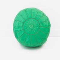 Moroccan Leather Pouf, Mint Green