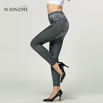 N.XINZHE Women Fashion Jeggings Slim Jeans Stretch Skinny Leggings Leg wear Pencil Pants Casual Jeans