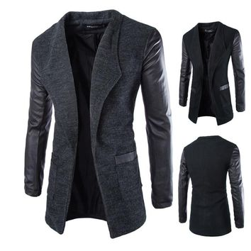 Leather Sleeve Long Wool Men Coat Casual Slim Fit Jacket  Patchwork Solid Long Outwear