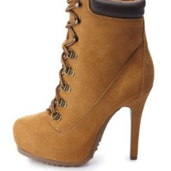 Lace-Up High Heel Work Booties by Charlotte Russe