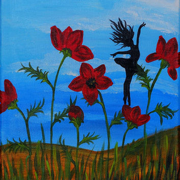 Children's Room Art, Little Fairy With Red Poppies, Original Painting for Girl's room