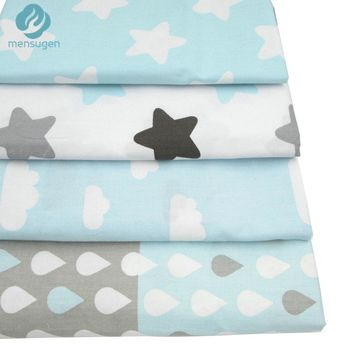 4pcs/lot 40cm*50cm Stars Clouds Raindrops Printed Cotton Fabric for Home Textile Bedding Quilting Tissue Tecido to Patchwork