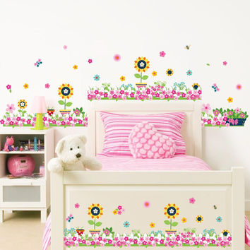 colorful flowers butterfly bee wall stickers for kids rooms living room baseboard decoration diy plant mural art home decals SM6