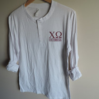 New Chi Omega Long Sleeve Henley Shirt // Size MEDIUM // Ready to Ship // Only One