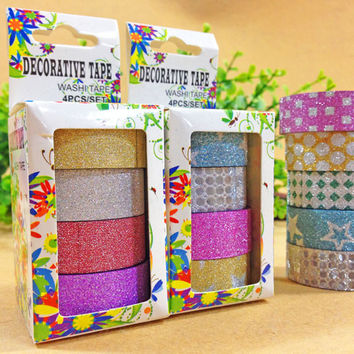 Valued Packaging 4Pcs Glitter Washi Tape Office Adhesive Tape Scrapbooking Tools Kawaii For Photo Album Decor