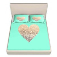 DiaNoche Designs Artistic Decorative Designer Unique Bed Sheets | Monika Strigel's Gatsby Gold Mint Heart