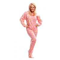 Pink Duck Adult Onesuit Footed One piece Pajamas
