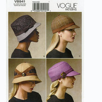 Women's CAPS & HATS Wool Kepi Cloche Army Fatigue Cap Equestrian Brimmed Safari Baseball Day Weekend Wear Accessories UNCUT Sewing Patterns