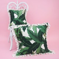 Banana Leaf Pillow with Tassels