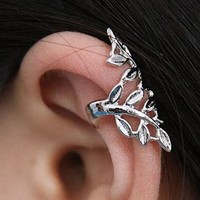 Silver Leaves Ear Cuffs ( 2PCs, No Piercing)