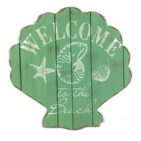Welcome to the Beach - Scallop Shell Plankboard Decorative Sign - 11-3/4-in (Caribbean Green)