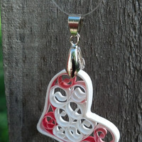 Paper Quilling Heart Necklace Pendant - paper quilling pendant, quilled heart, heart pendant, heart necklace, paper anniversary gift for her