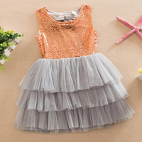 Baby Girl  Layered Tutu Dress Kids Sleeveless Hollow Out Back Bow Sequined Dresses Children Clothing