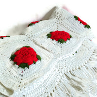 Vintage Handmade Afghan, Crochet with Red Roses, White Fringed, Red and Green, Crochet Throw, Blanket, Christmas Holiday