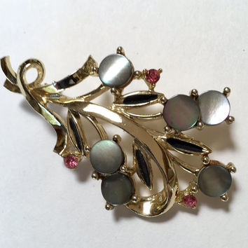 Floral Spray Brooch with Mother of Pearl and Pink Rhinestone Accents Gold Tone Vintage