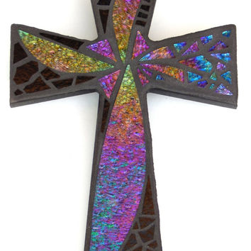 "Mosaic Wall Cross, Abstract Floral Design, ""Dandelion Wish"", Iridescent + Textured Stained Glass, Handmade Mosaic 12"" x  8"""