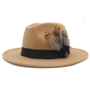 MSA Signature 100% Wool Women Men Wide Brim Winter Felt Trilby Fedora Hat With Feather Band Cashmere  Church Hat