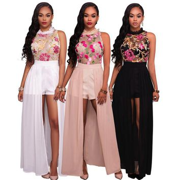 Women Elegant Jumpsuit Romper 2017 New Fashion Sexy Mesh embroidery Summer jumpsuit rompers maxi Black White Pink M L XL