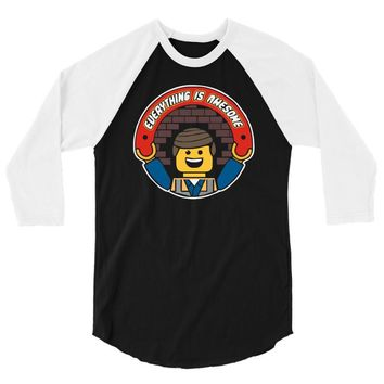 everything is awesome   mens funny lego 3/4 Sleeve Shirt