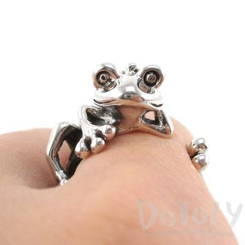 Yoga Frog Shaped Animal Wrap Around Ring in 925 Sterling Silver | US Size 4 to 8.5