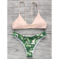 Pink Top Leaves Printing Bottom Bikini Set