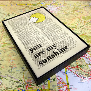 You Are My Sunshine typographic altered book art by wallenvyart