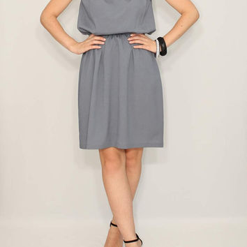 Short Gray Dress Bridesmaid Dress Chiffon Dress Keyhole dress Party Dress