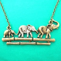 Elephant Family Animal Pendant Necklace in Bronze with Rhinestones