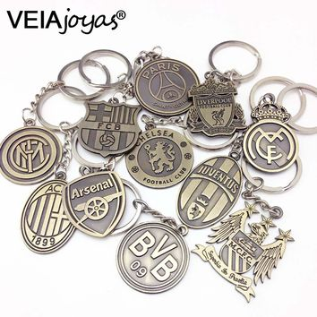Vintage Spanish La Liga Football Club KeyChain Europe's Football leagues 2017 Hot Soccer Club Logo Bronze Key Chain chaveiro Men