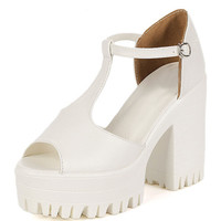 White Strappy Peep Toe Platform Heeled Sandals - Choies.com